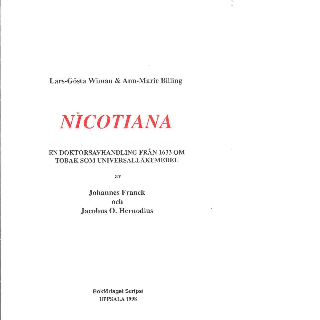 Nicotiana - Wiman, Lars-Gösta och Billing-Ottosson, Ann-Marie