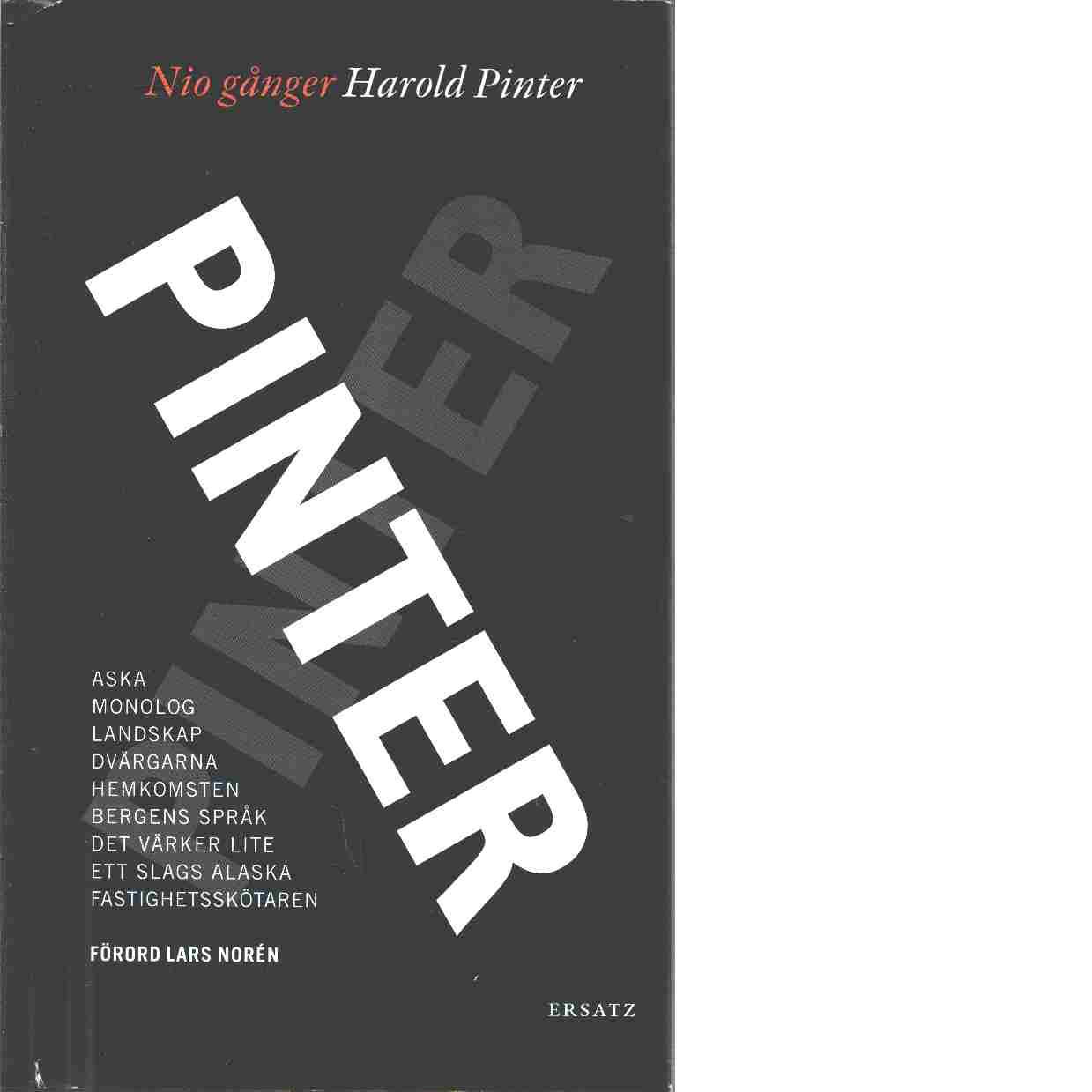 Nio gånger Pinter - Pinter, Harold
