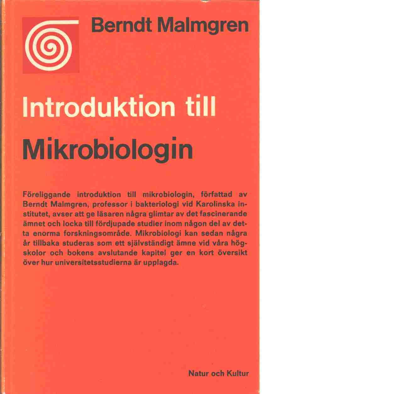 Introduktion till mikrobiologin - Malmgren, Berndt