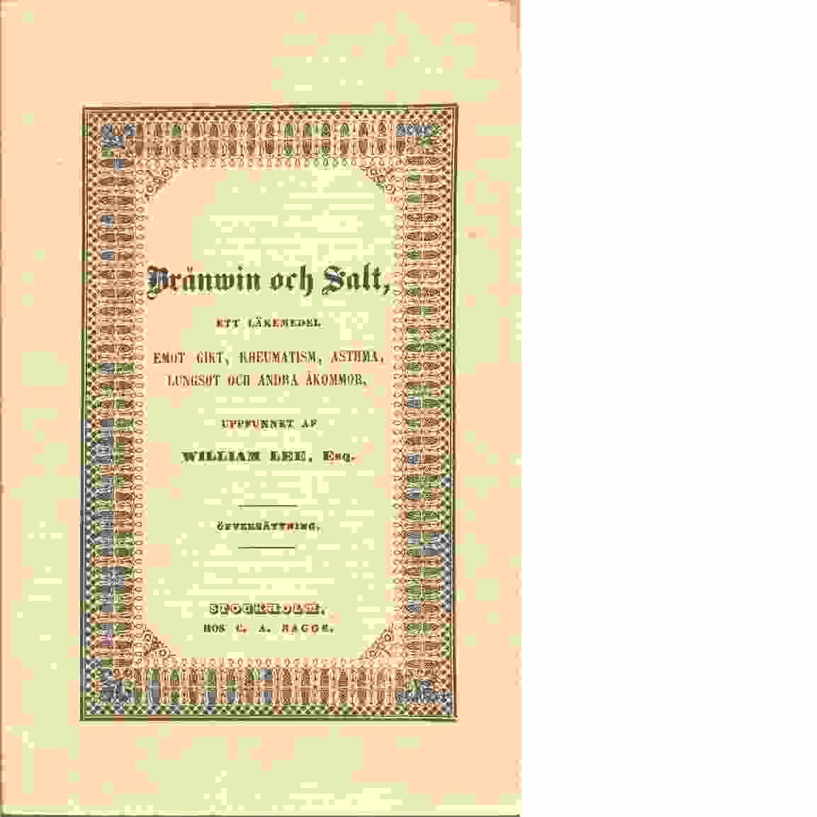 Bränvin och salt - Vallance, J. H.