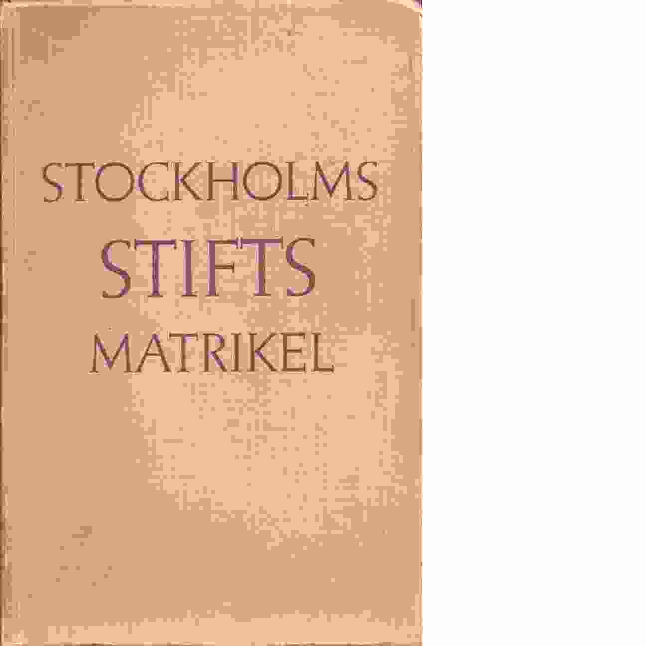 Stockholms stifts matrikel. - Svenungsson, David
