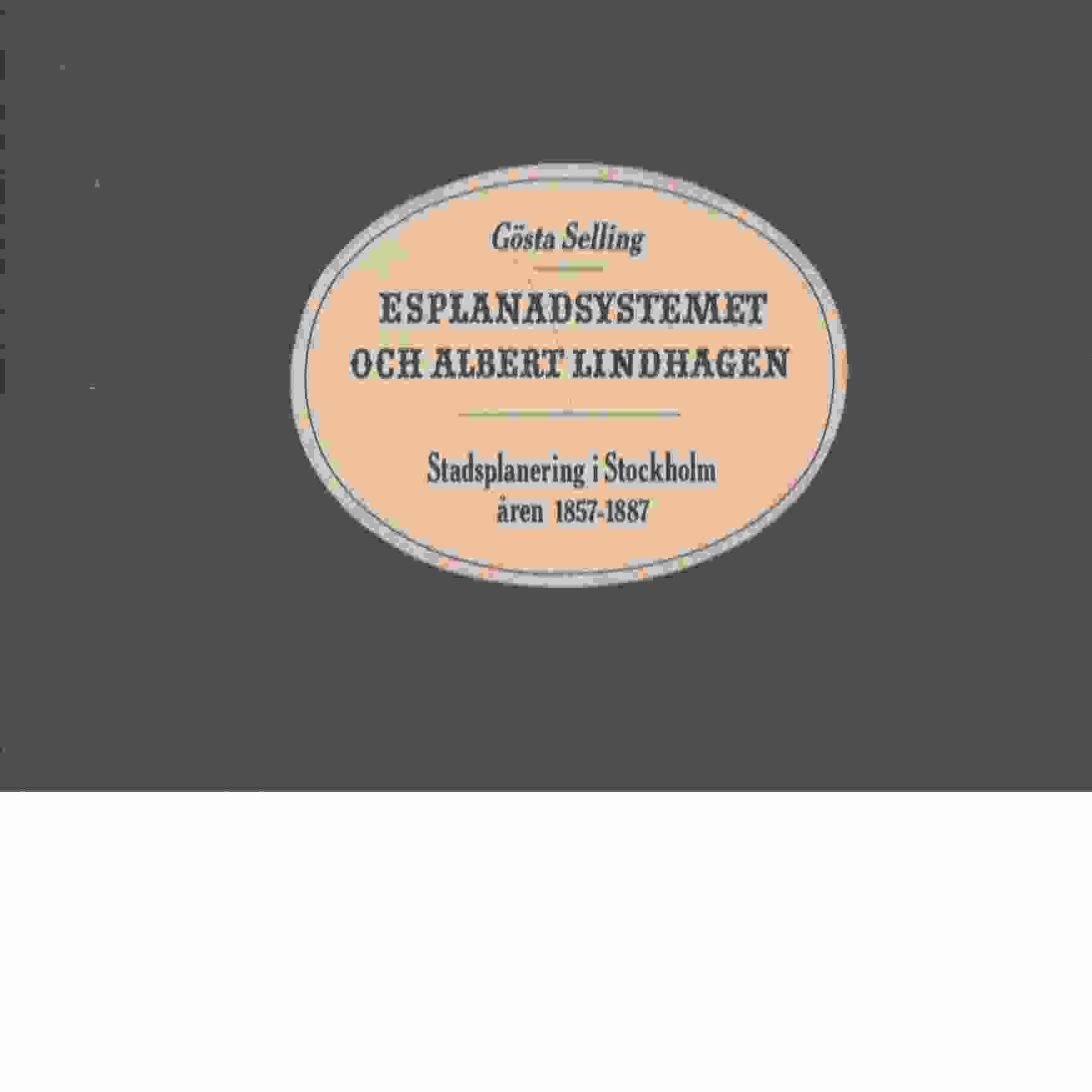 Esplanadsystemet och Albert Lindhagen : stadsplanering i Stockholm åren 1857-1887 - Selling, Gösta