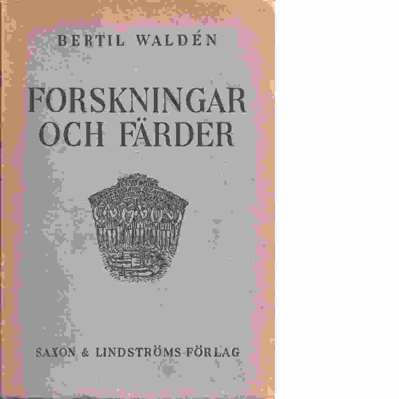 Forskningar och färder : konst- och kulturhistoriska uppsatser, resebrev - Waldén, Bertil