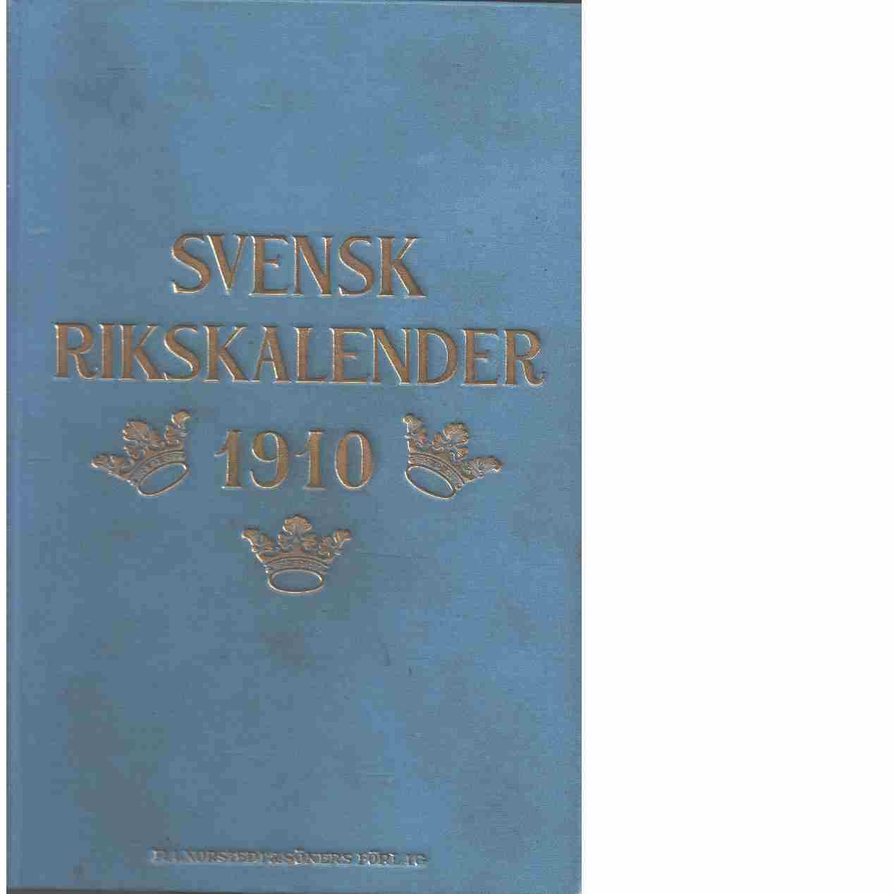 Svensk rikskalender 1910 - Red.