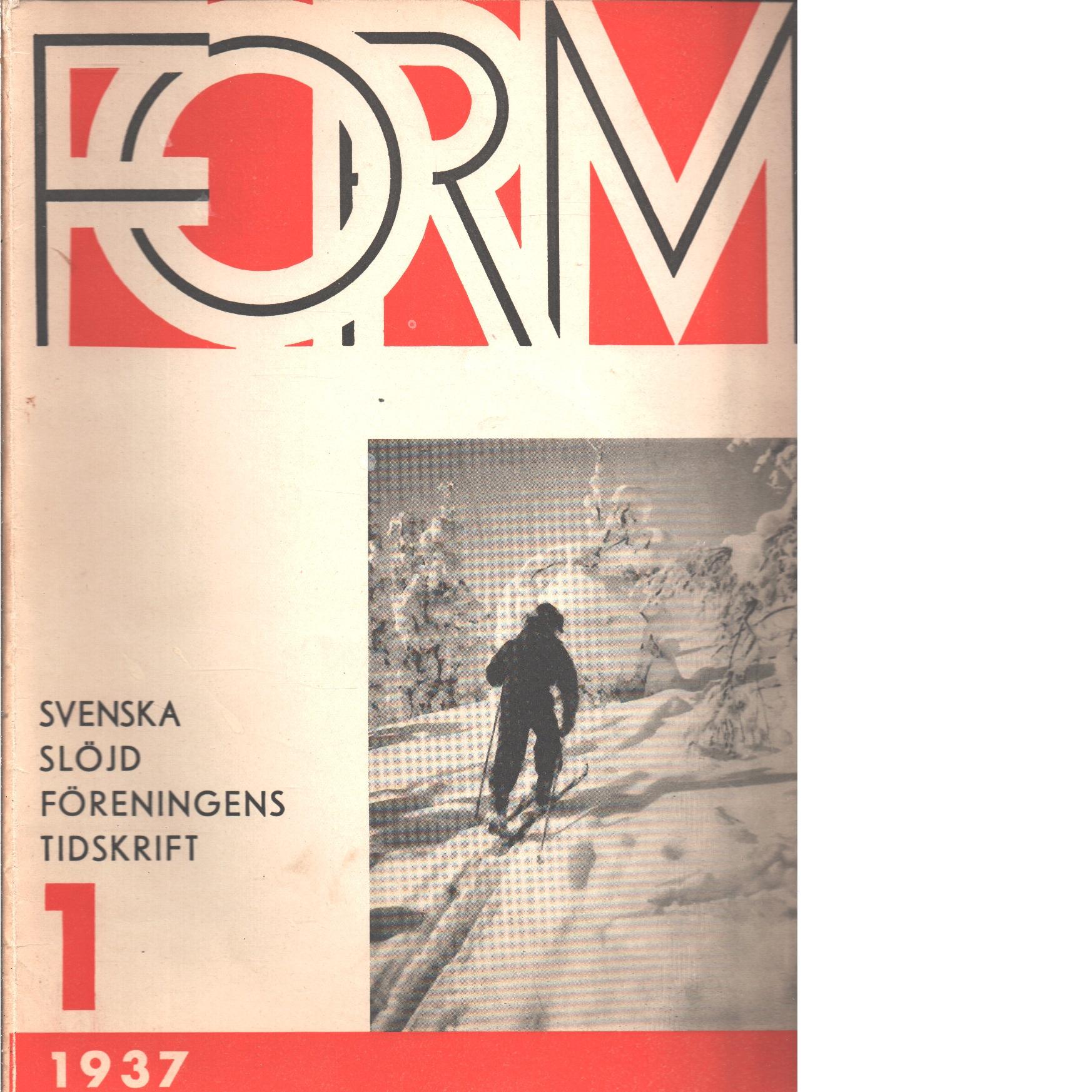 Form : Svenska slöjdföreningens tidskrift Nr 1 1937 - Red.
