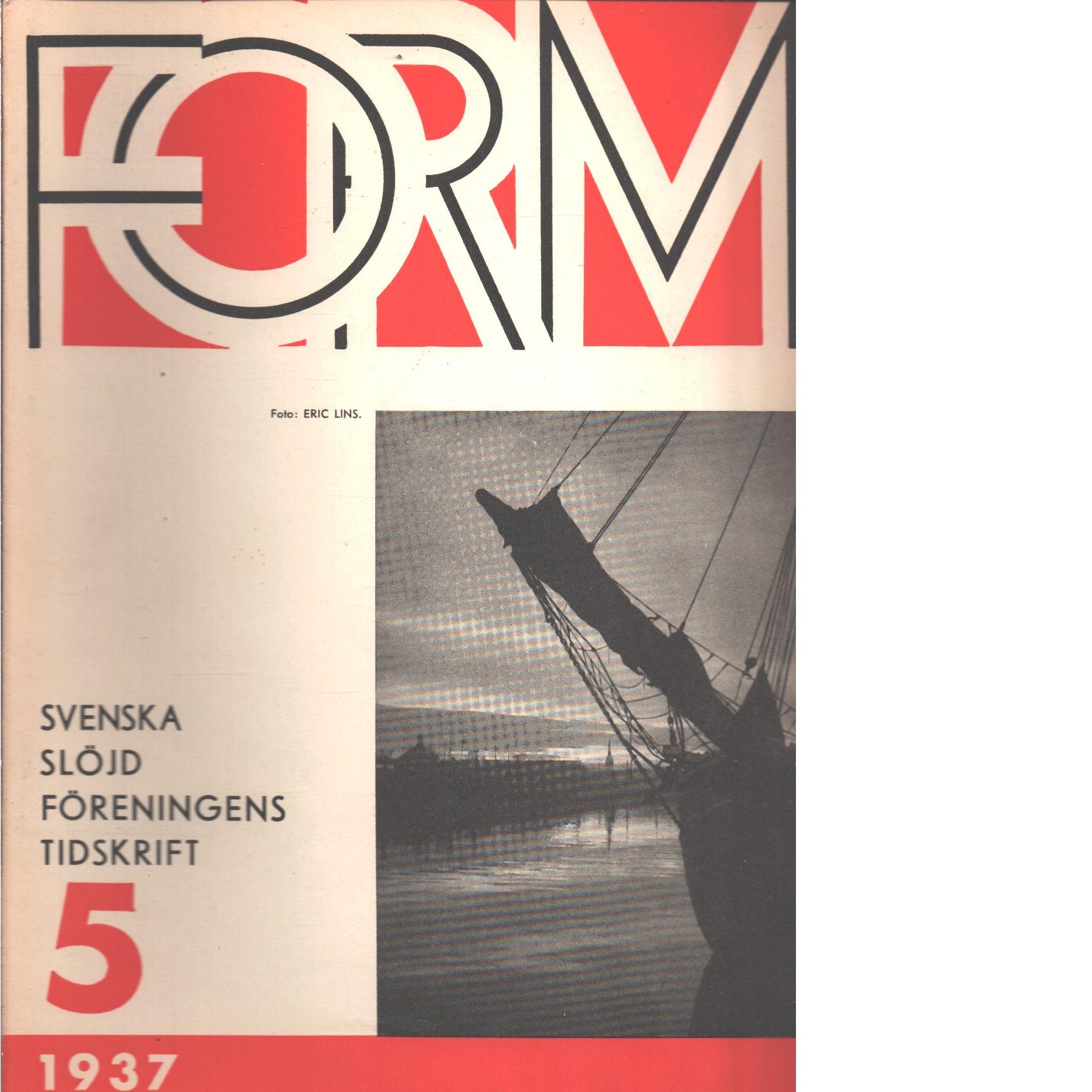 Form : Svenska slöjdföreningens tidskrift Nr 5 1937 - Red.