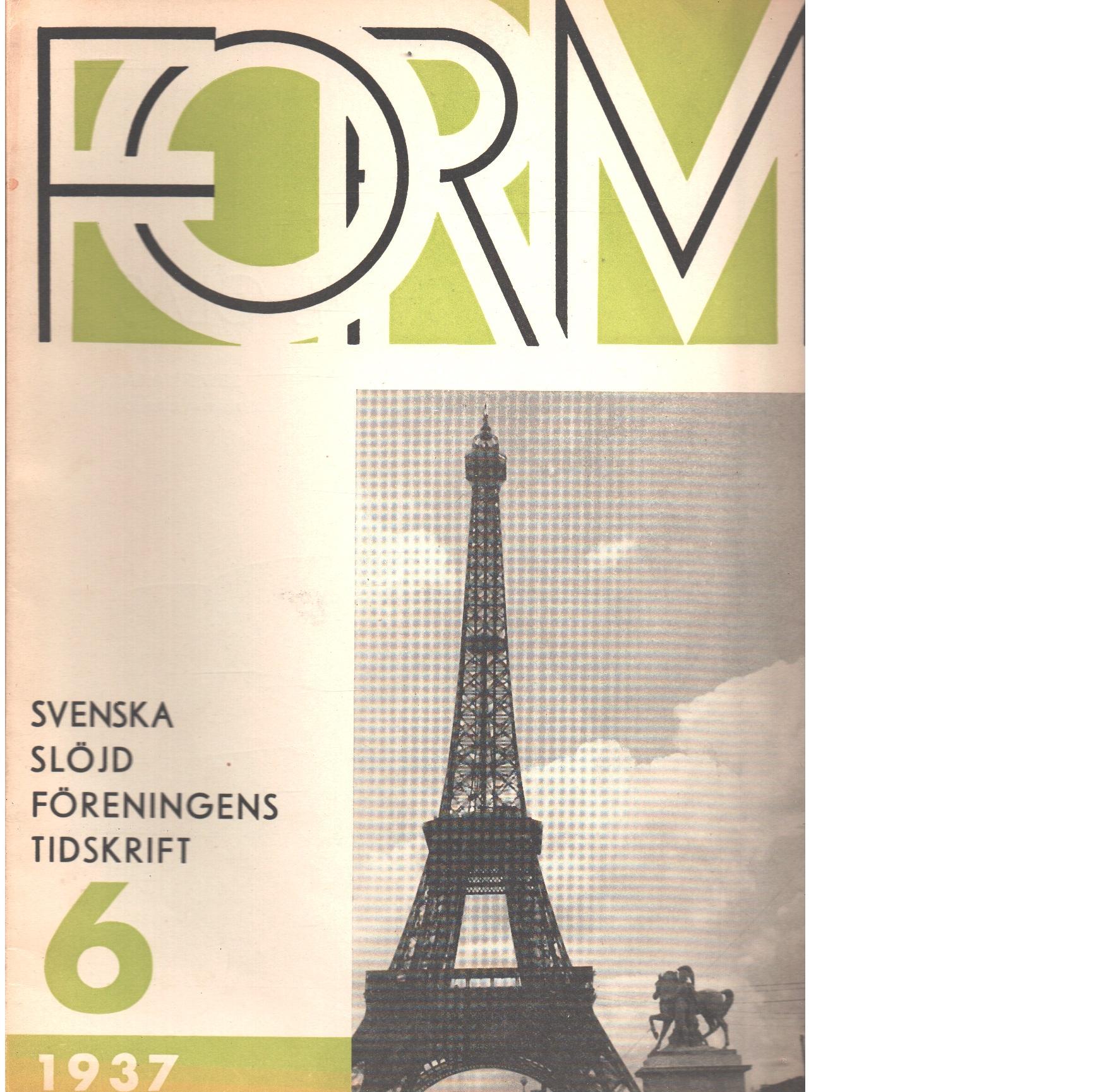 Form : Svenska slöjdföreningens tidskrift Nr 6 1937 - Red.