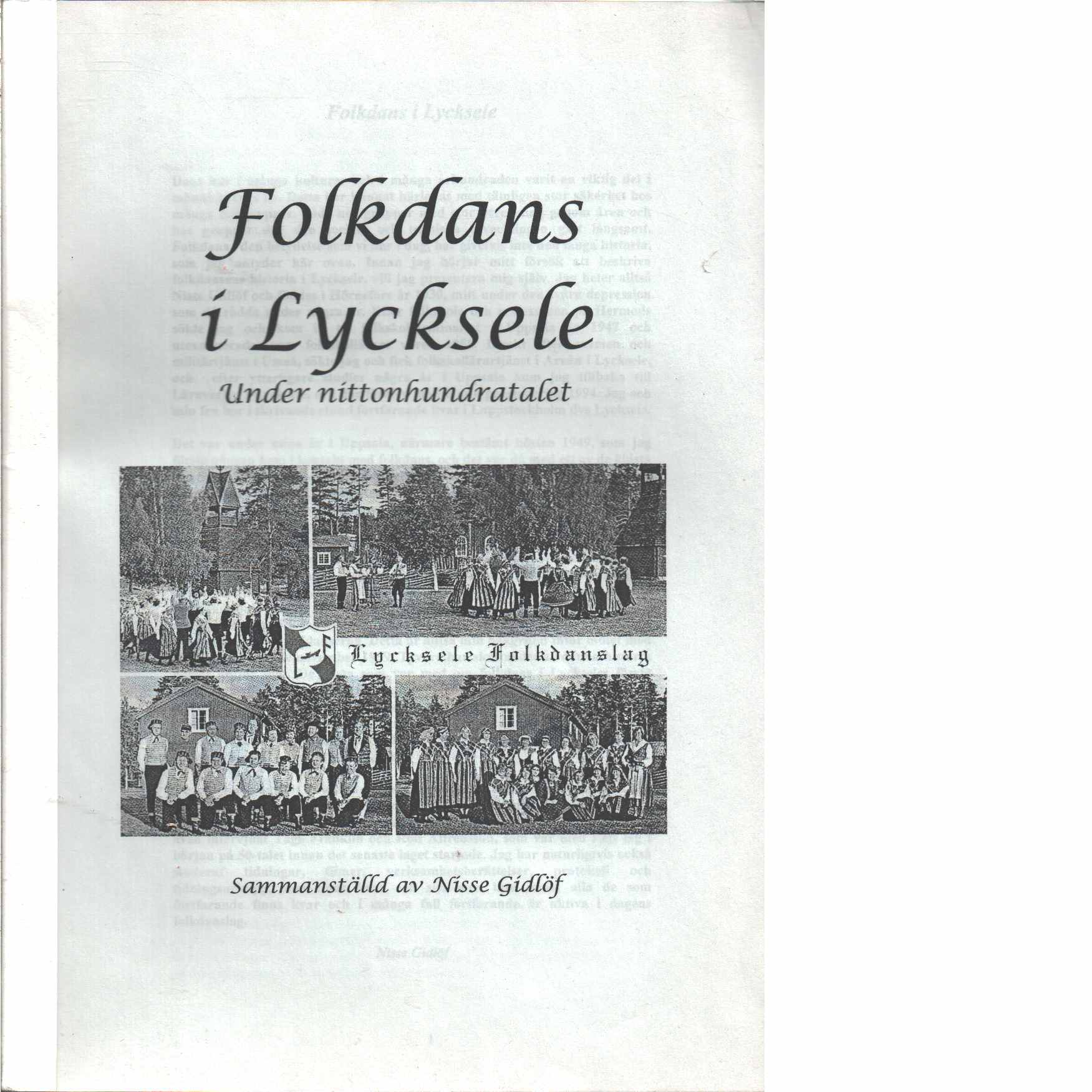 Folkdans i Lycksele under nittonhundratalet - Gidlöf, Nisse