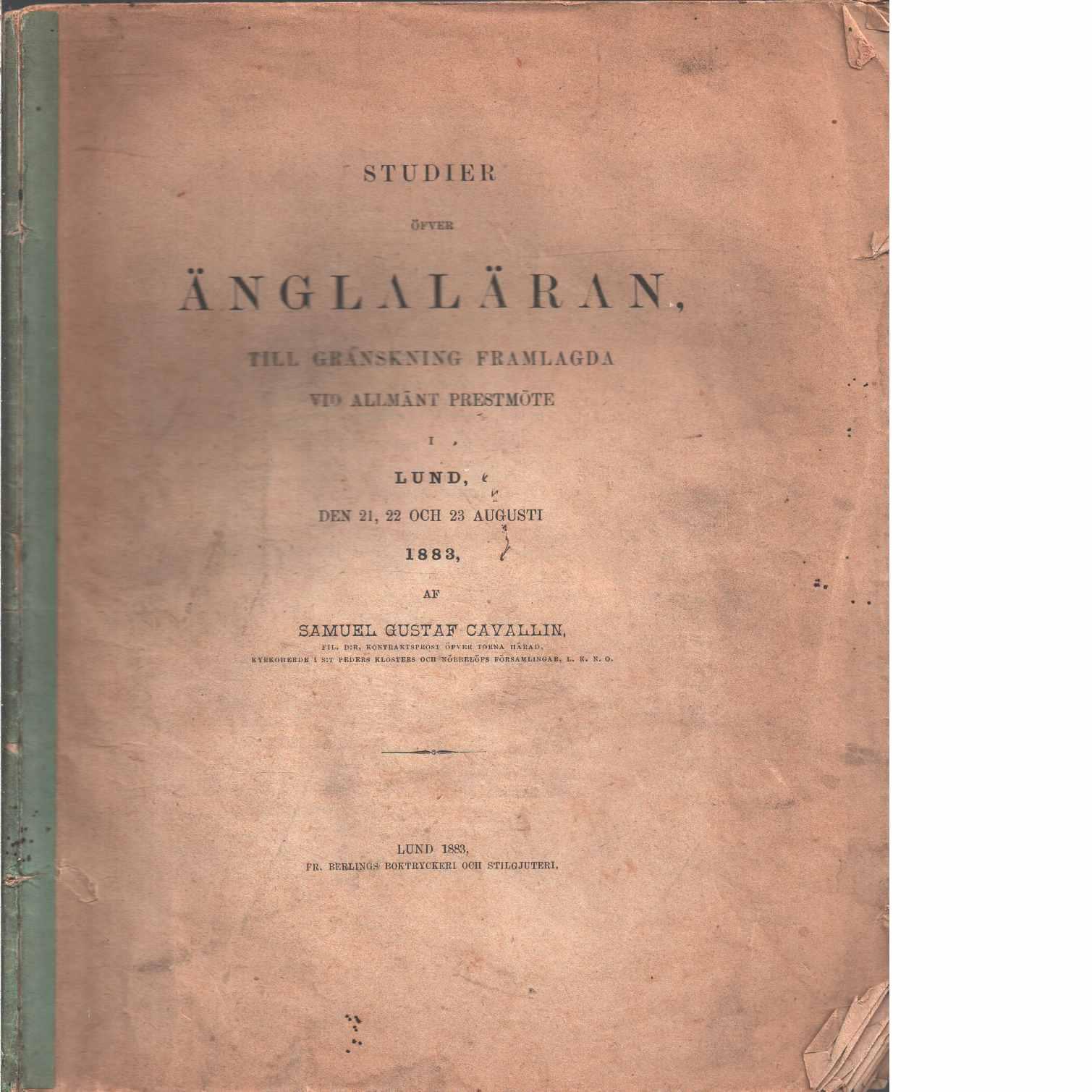 Studier öfver änglaläran - Cavallin, Samuel Gustaf