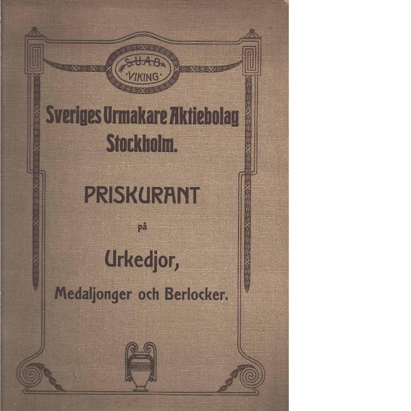 Priskurant på urkedjor, medaljonger och berlocker - Sveriges urmakare aktiebolag Stockholm