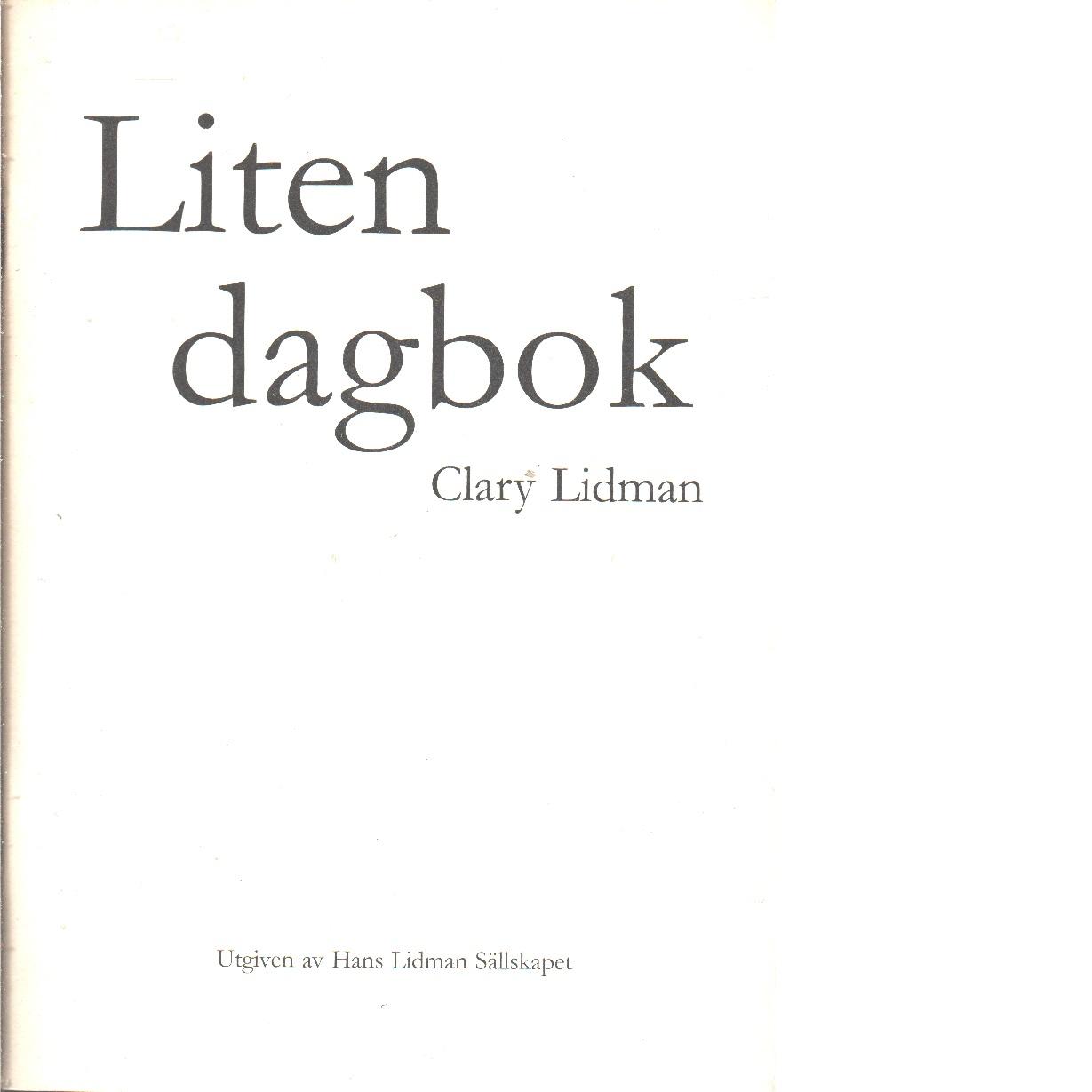 Liten dagbok - Lidman, Clary