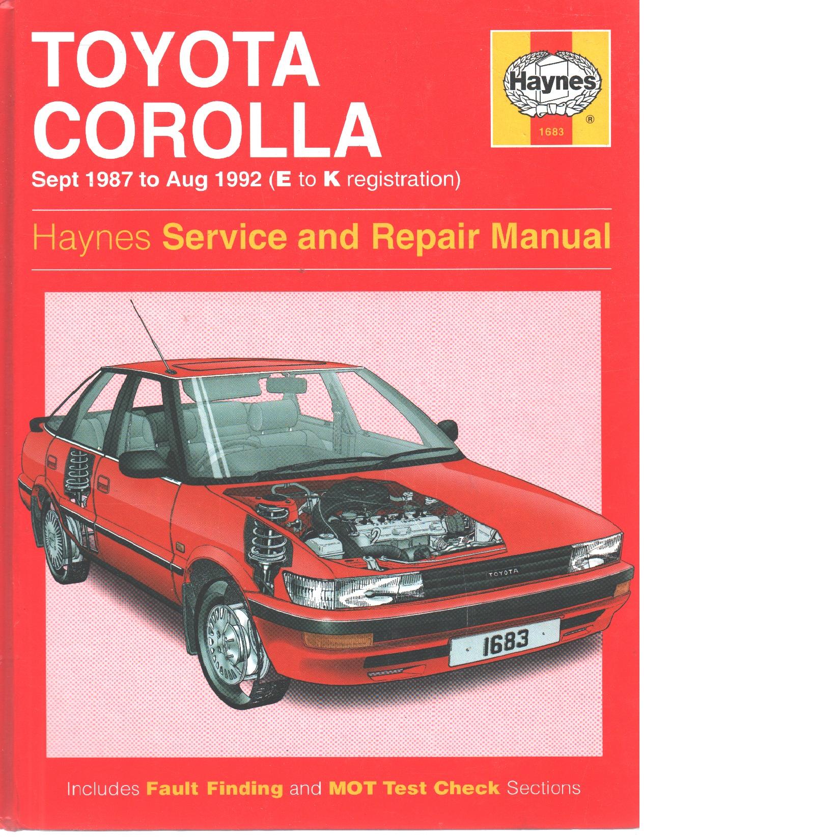 Toyota Corolla Sept 1987 to Aug 1992 - Jones. Robert T. H.