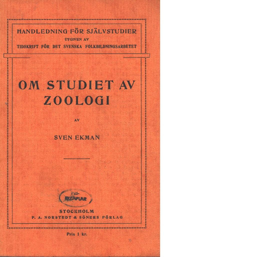 Handledning för självstudier i zoologi - Ekman, Sven
