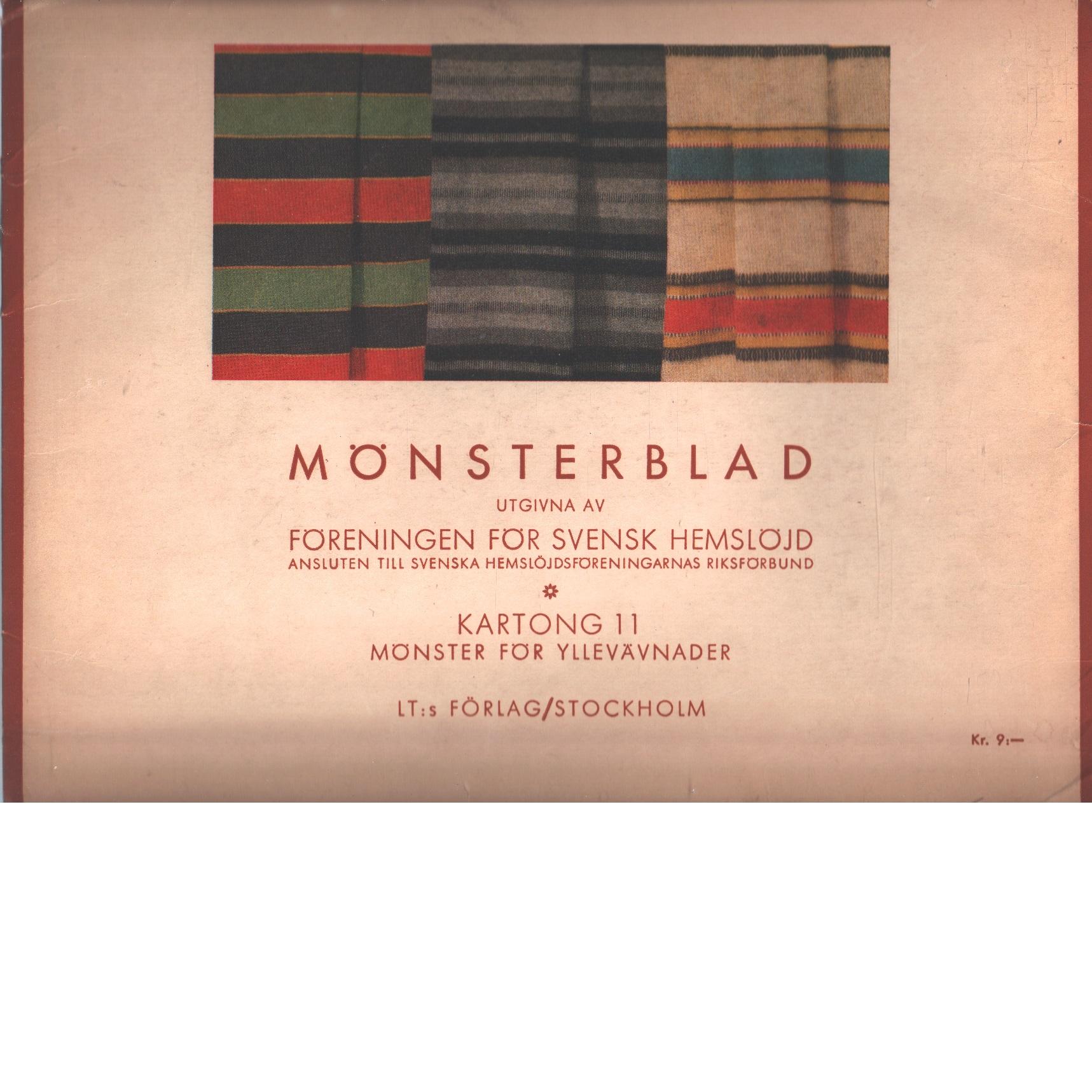 Mönsterblad. kartong 11:1, mönster för yllevävnader - Red. Föreningen För Svensk Hemslöjd