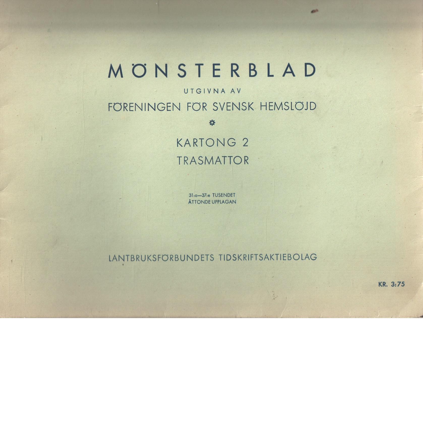 Mönsterblad. kartong 2  Trasmattor - Red. Föreningen För Svensk Hemslöjd
