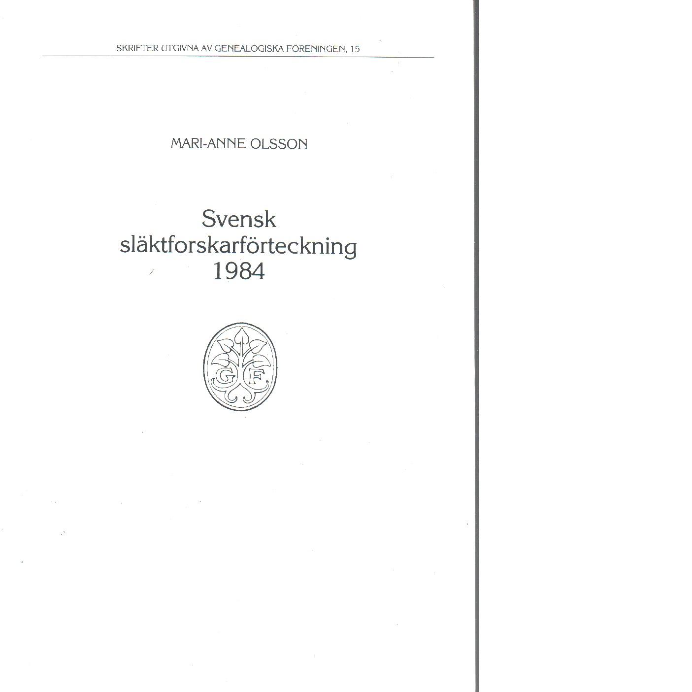 Svensk släktforskarförteckning 1984 - Red.