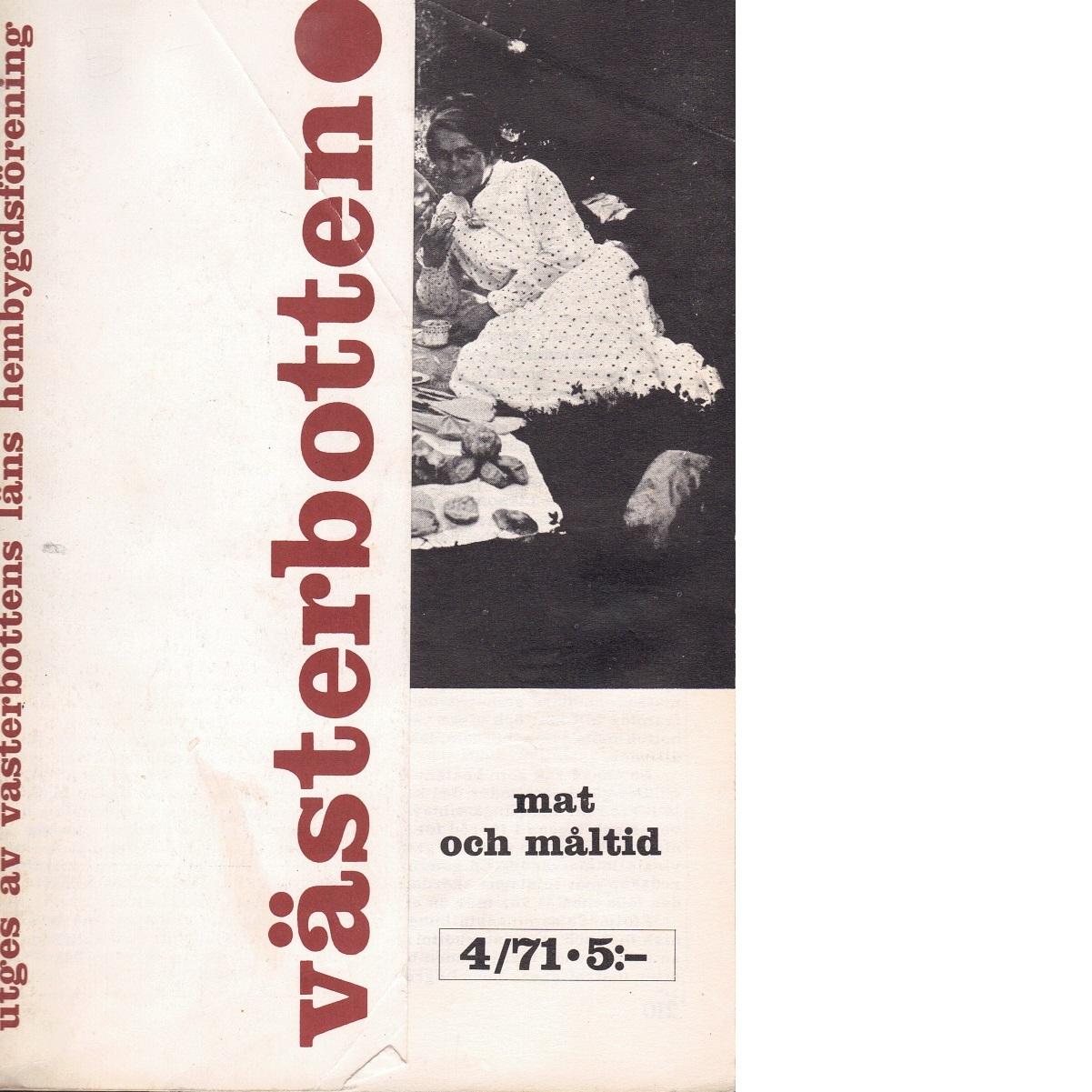 Västerbotten 4 : Västerbottens läns hembygdsförenings årsbok 1981 - Red.