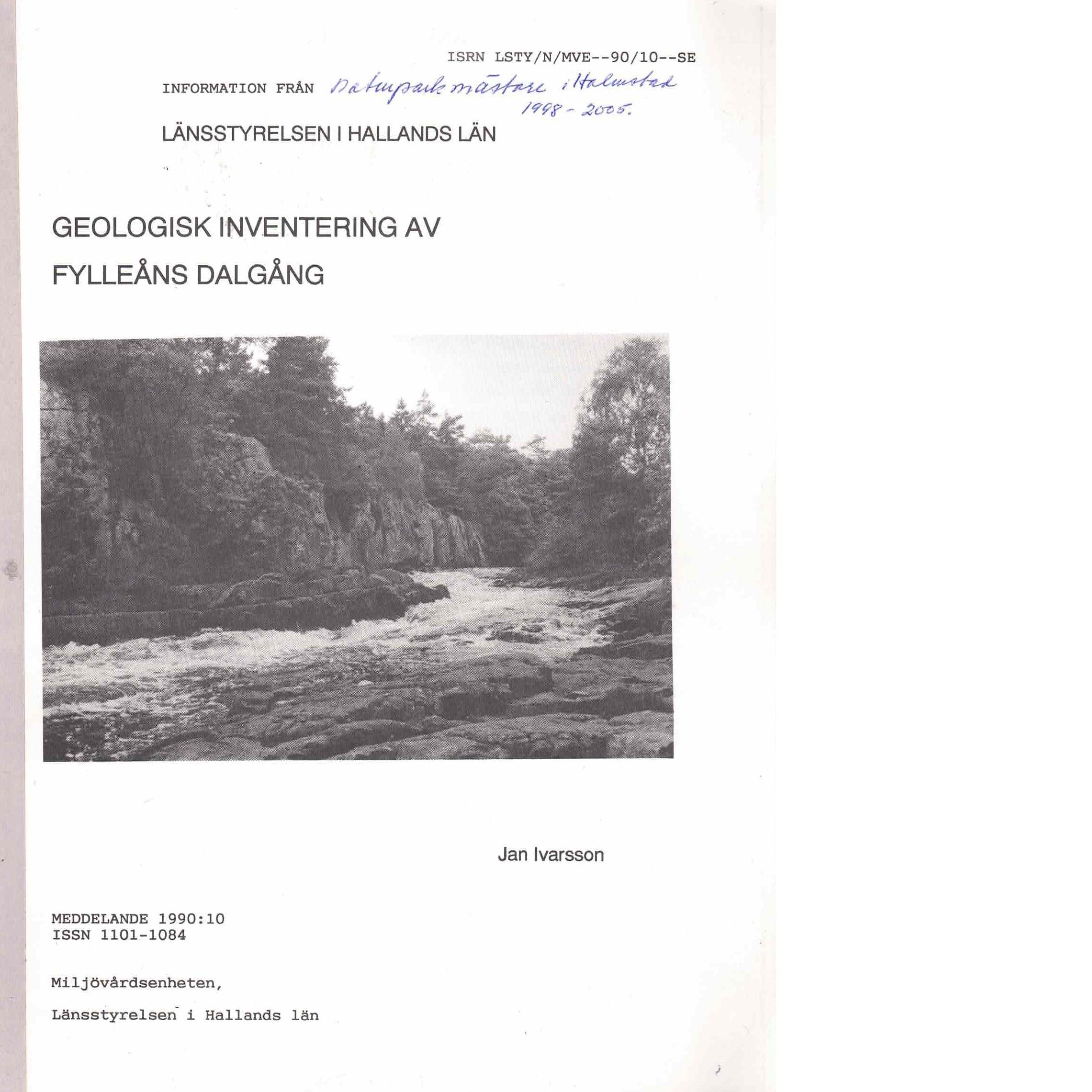 Geologisk inventering av Fylleåns dalgång - Ivarsson, Jan