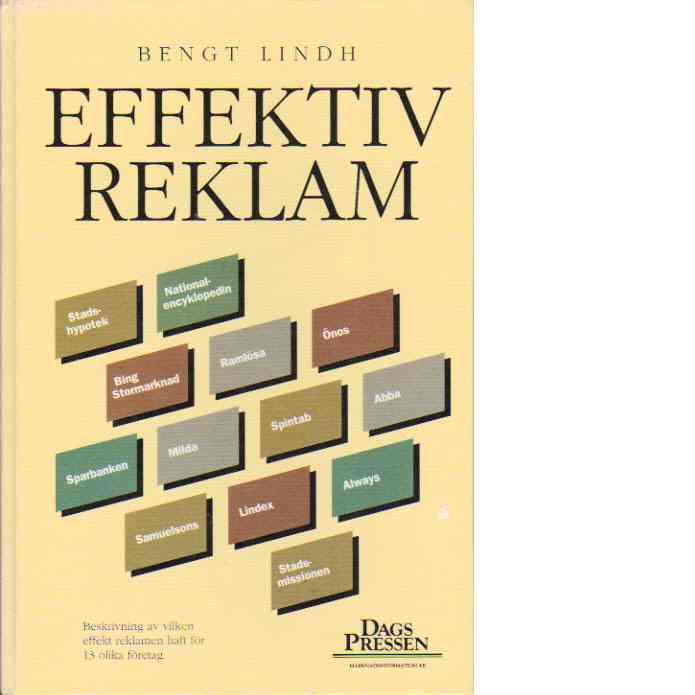 Effektiv reklam : [beskrivning av vilken effekt reklamen haft för 13 olika företag - Lindh, Bengt