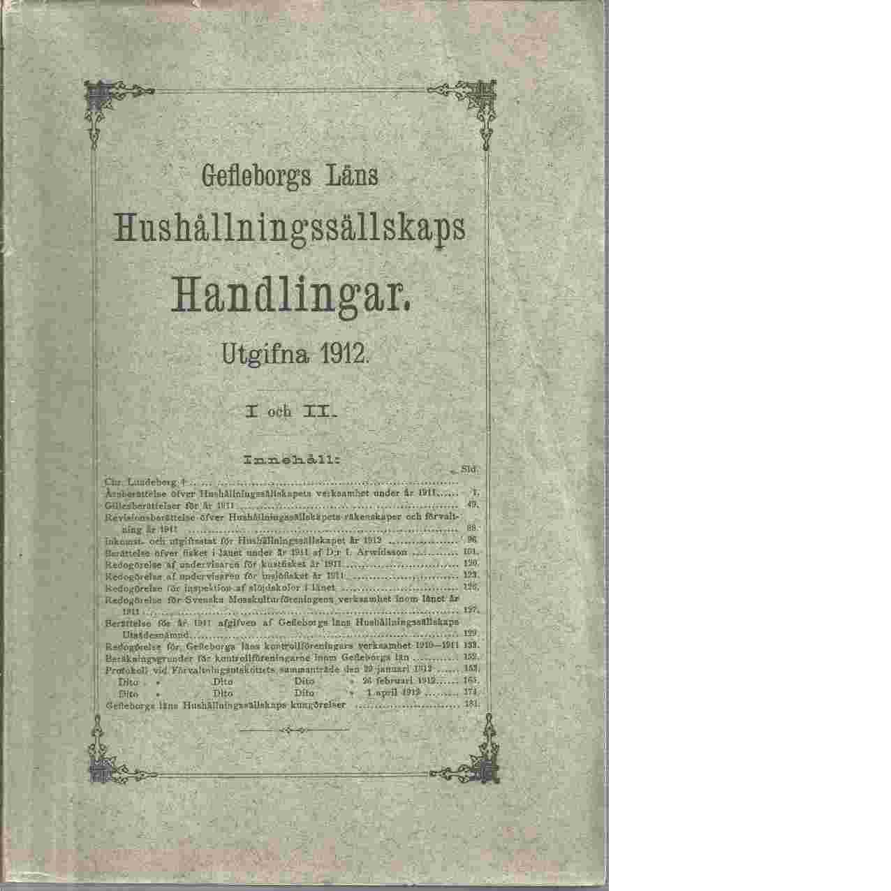 Gefleborgs Läns Hushållningssällskaps   handlingar - Lundeberg Chr.
