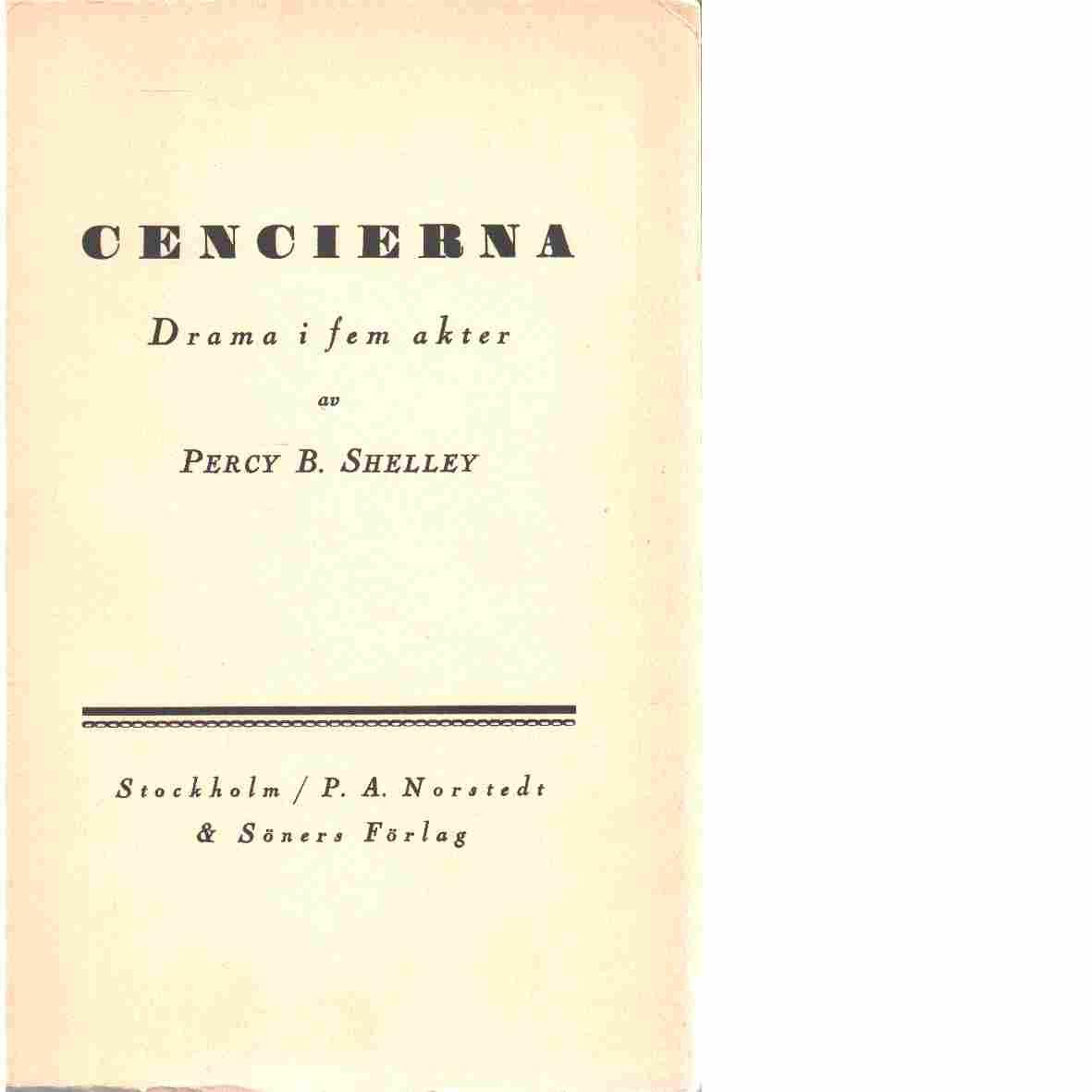 Cencierna : drama i fem akter - Shelley, Percy Bysshe