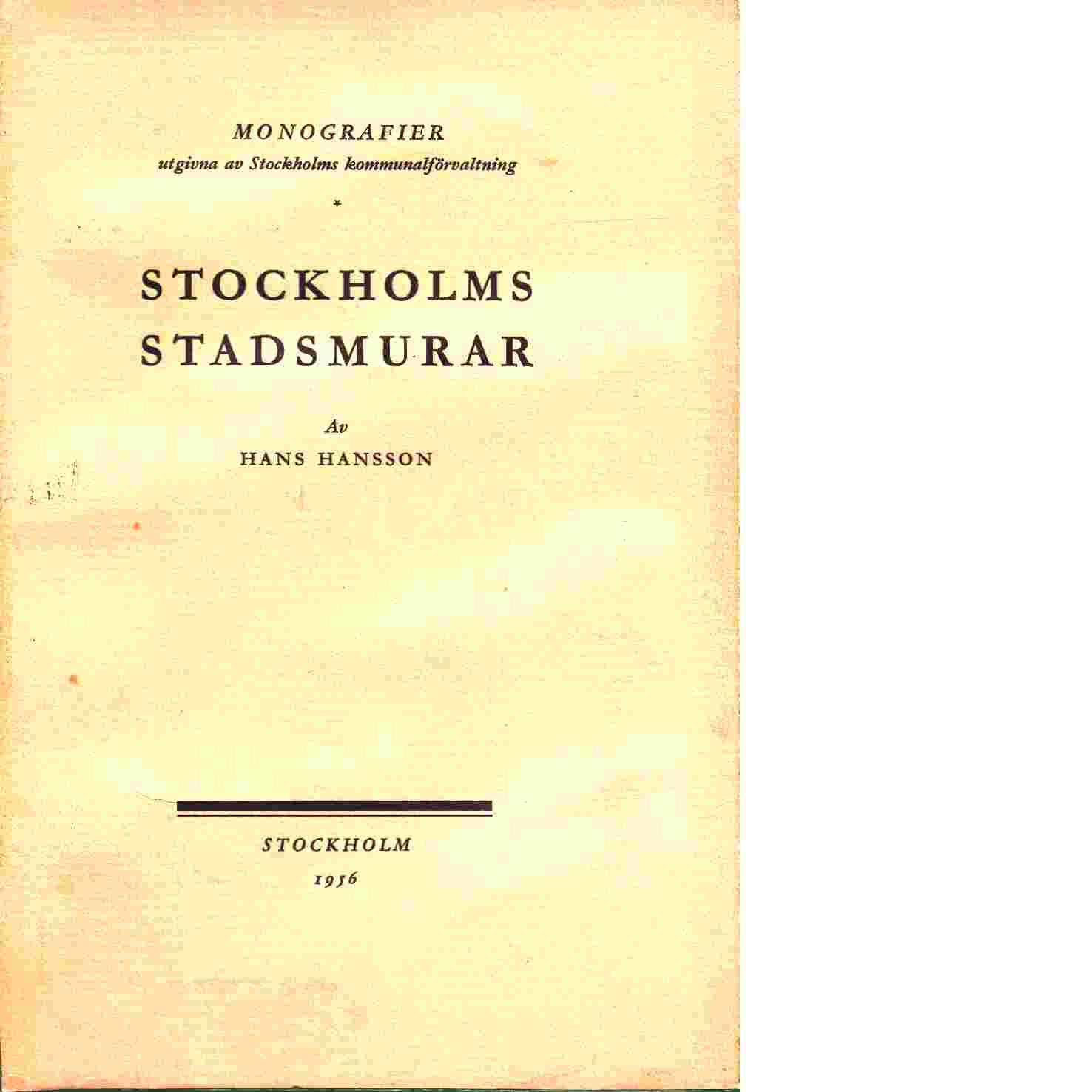 Stockholms Stadsmurar - Hansson, Hans