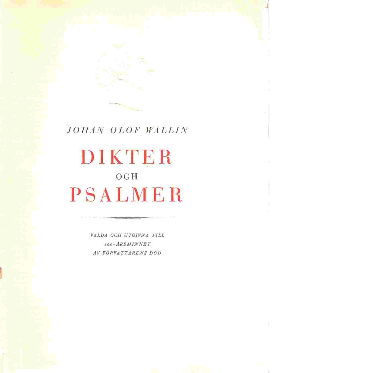 Dikter och Psalmer - Wallin Johan Olof