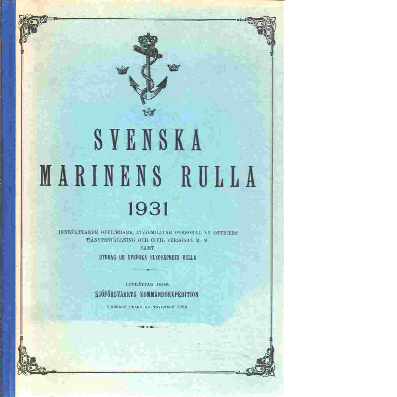 Svenska Marinens Rulla 1931 - Jönköping : Lundgrenska boktr., 1931